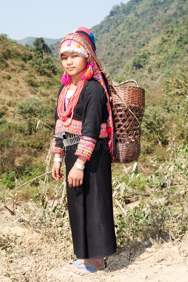 De vrouw van Akha in Laos stock foto