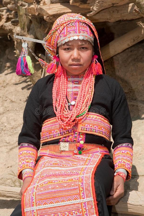 De vrouw van Akha van Laos stock foto's