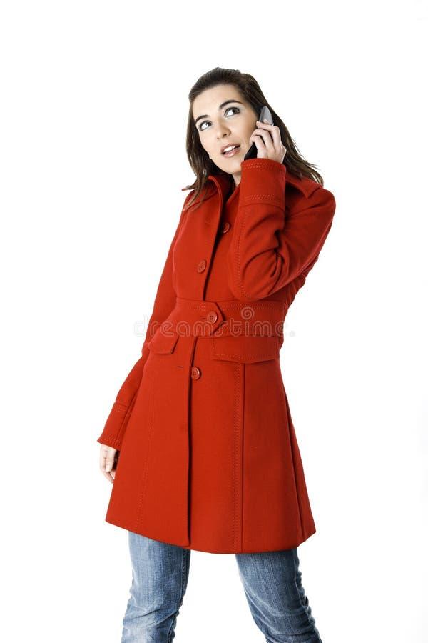 De vrouw van Cellphone stock foto