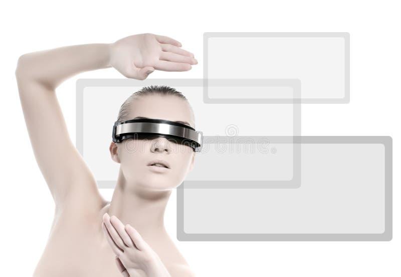 De vrouw van Cyber stock foto's