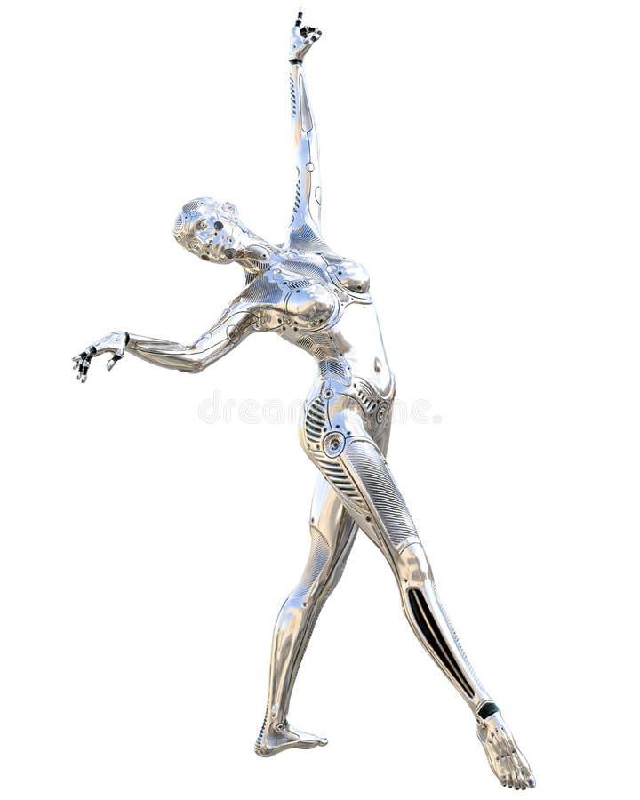 De vrouw van de dansrobot Metaal glanzende zilveren droid Kunstmatige intelligentie Conceptueel manierart. realistische 3d geeft  royalty-vrije illustratie