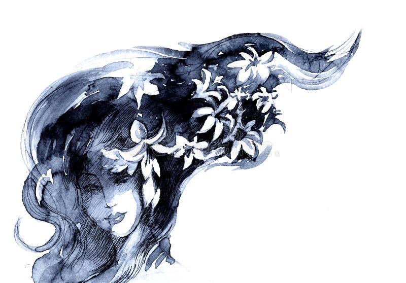 De vrouw van de bloei stock illustratie