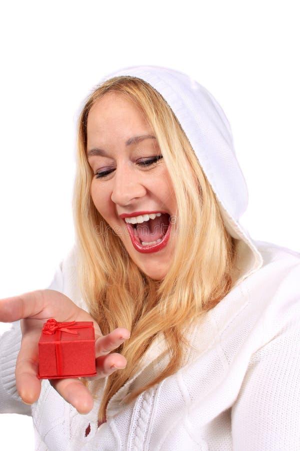De vrouw van de blonde toont heden stock afbeeldingen