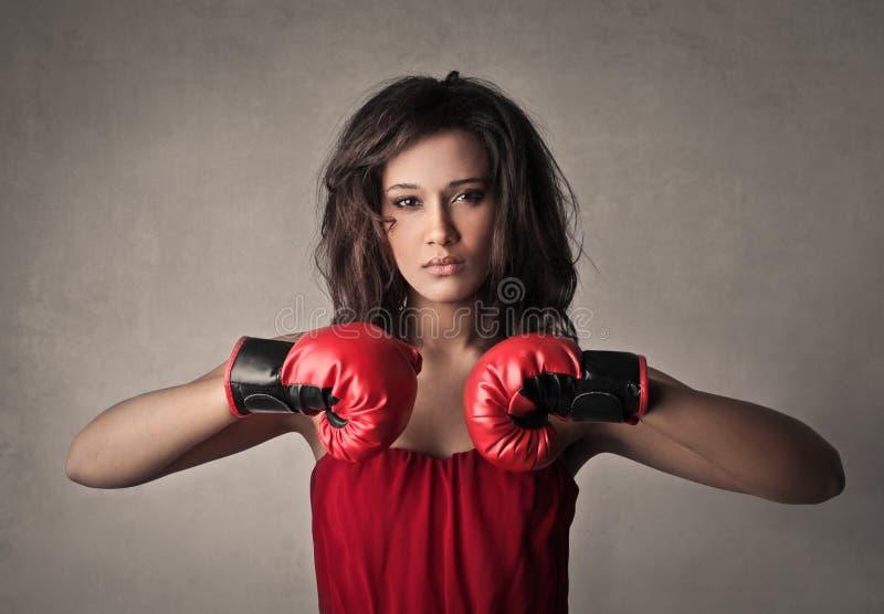 De vrouw van de bokser royalty-vrije stock afbeeldingen