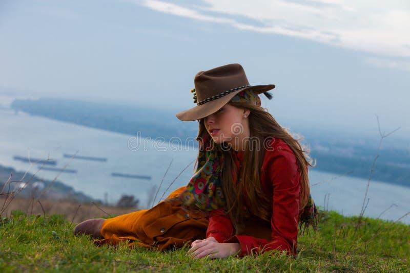 De vrouw van de de herfstmanier stock foto