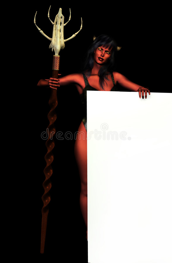 Download De Vrouw Van De Duivel Met De Rand Van Het Teken - Op Zwarte Stock Illustratie - Illustratie bestaande uit gotisch, mooi: 280586