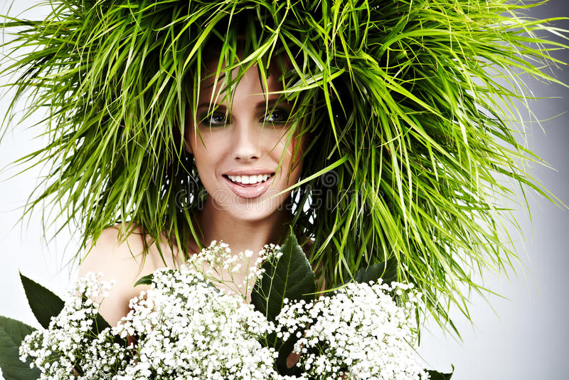 De vrouw van de ecologie, groen concept royalty-vrije stock afbeelding