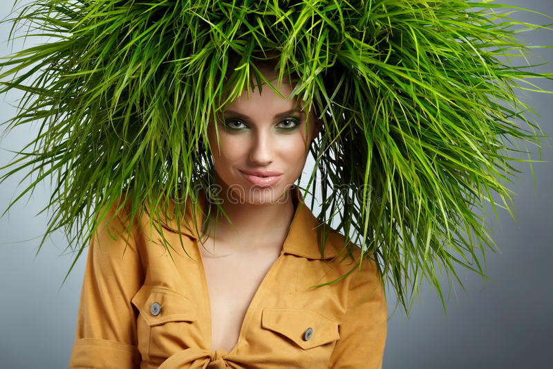 De vrouw van de ecologie, groen concept stock afbeeldingen