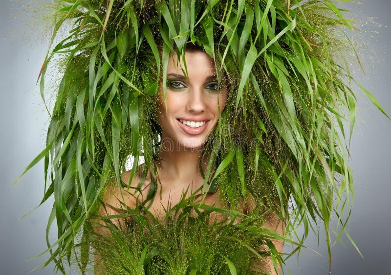 De vrouw van de ecologie, groen concept stock afbeelding