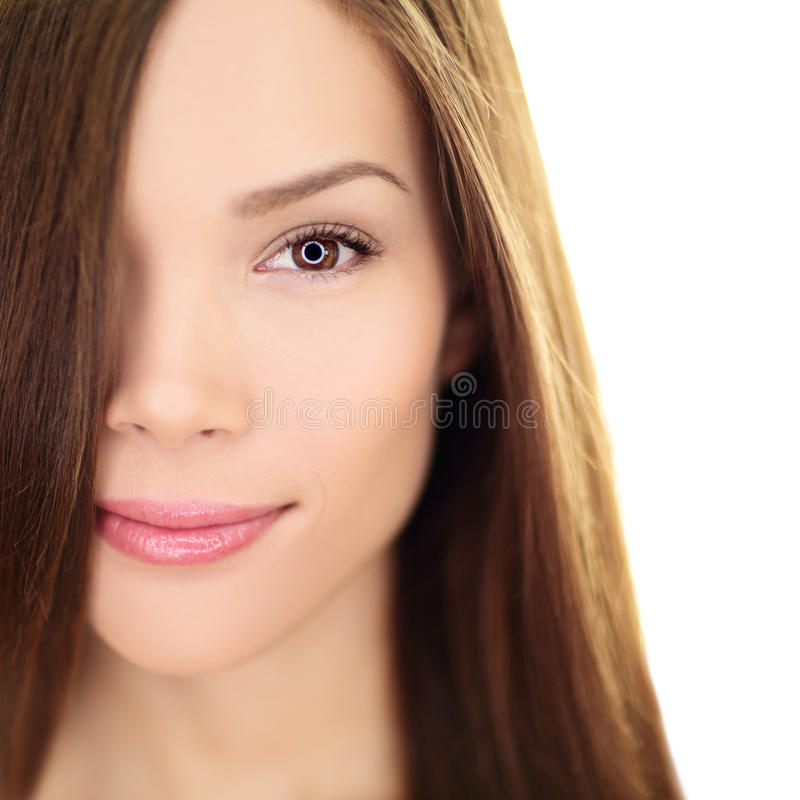 De vrouw van de haarverzorgingschoonheid met lang haar - brunette royalty-vrije stock afbeeldingen