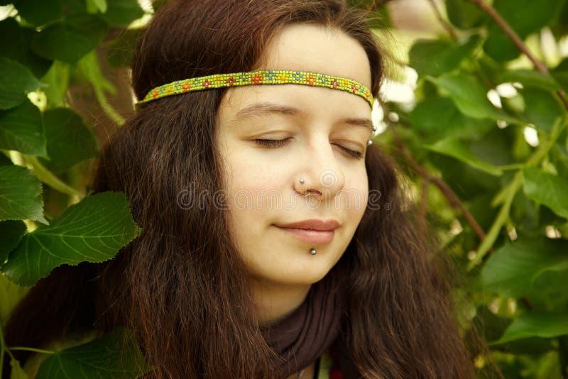 De vrouw van de hippie stock foto