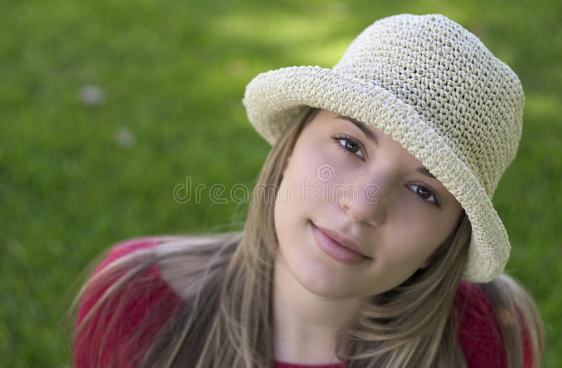 De Vrouw van de hoed stock fotografie