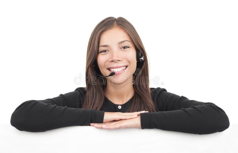 De vrouw van de hoofdtelefoon van call centre royalty-vrije stock fotografie