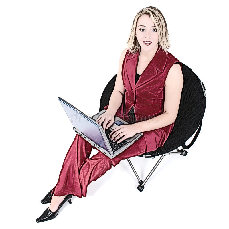 De Vrouw van de illustratie in Rood met Laptop als Zwarte Voorzitter royalty-vrije illustratie