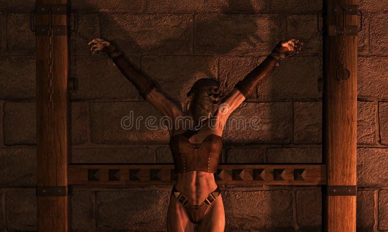 De vrouw van de inquisitie in kettingen vector illustratie