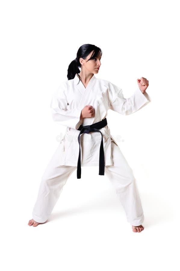 De vrouw van de karate het stellen stock foto's
