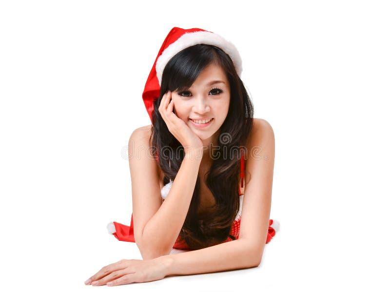 De vrouw van de kerstman die op witte achtergrond wordt geïsoleerdo royalty-vrije stock afbeeldingen