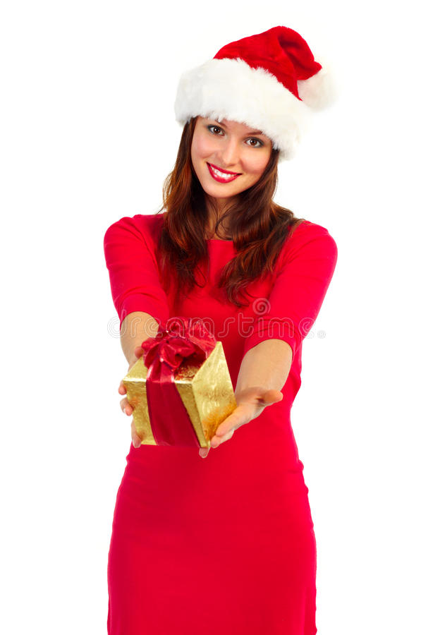 De vrouw van de kerstman met aanwezige Kerstmis stock afbeeldingen