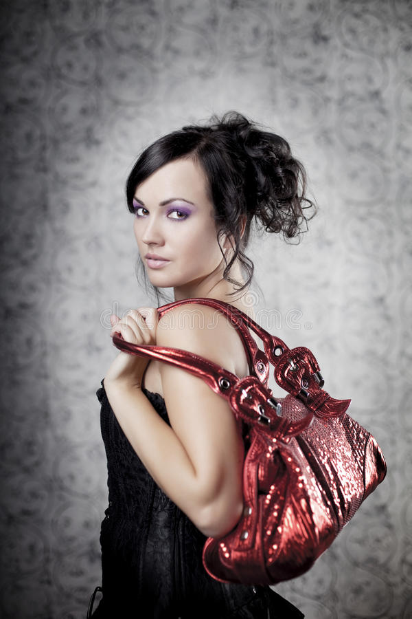 De vrouw van de luxe met zak royalty-vrije stock afbeelding