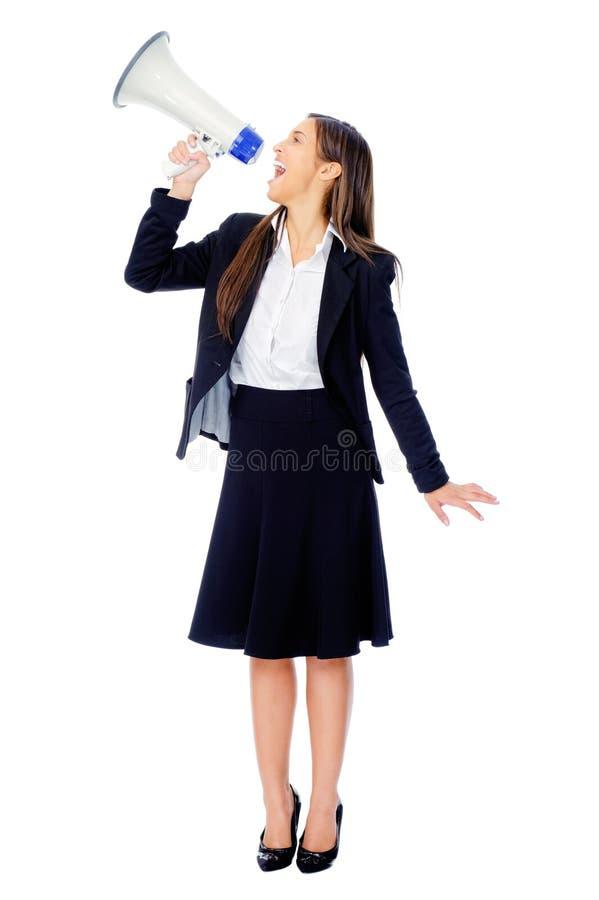 De vrouw van de megafoon stock afbeelding