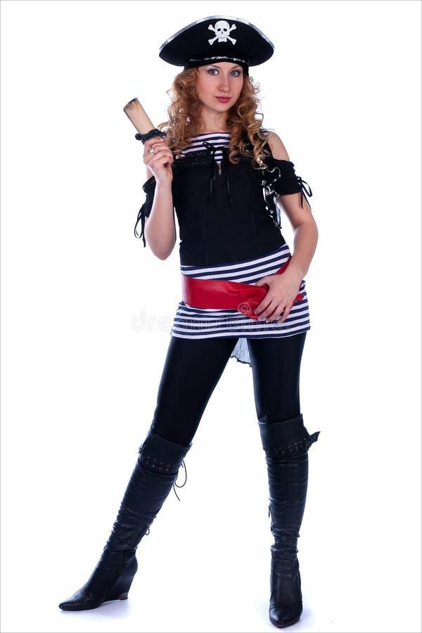 De vrouw van de piraat met een kaart royalty-vrije stock fotografie