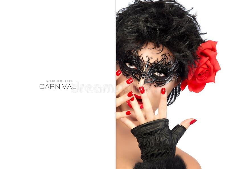 De Vrouw van de schoonheidsmanier met Elegant Masker Carnaval-concept royalty-vrije stock foto's