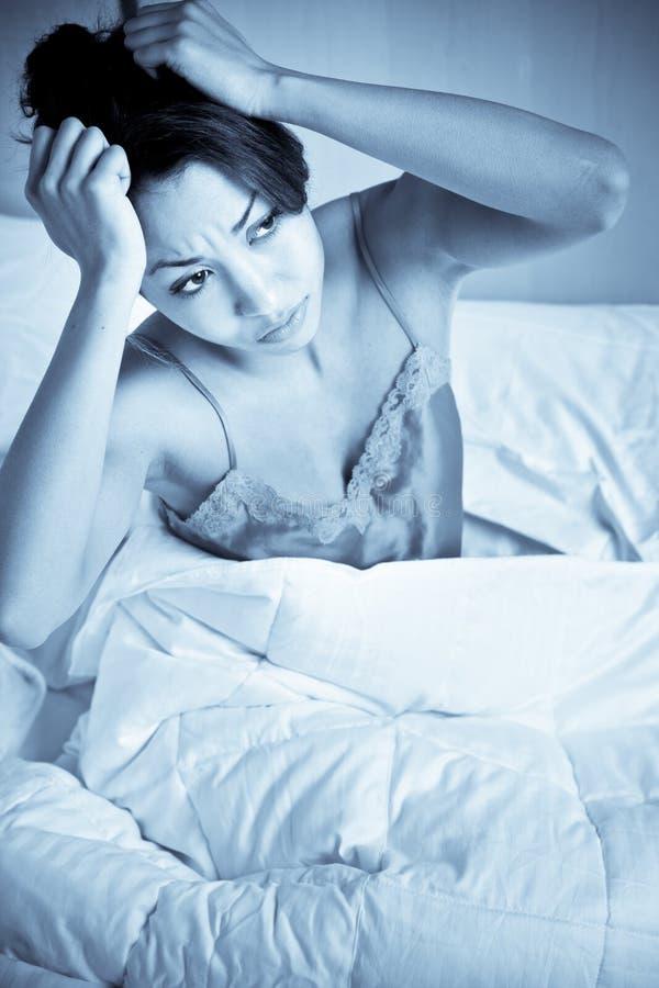De Vrouw Van De Slapeloosheid Stock Foto's