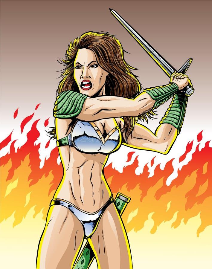 De vrouw van de strijder vector illustratie