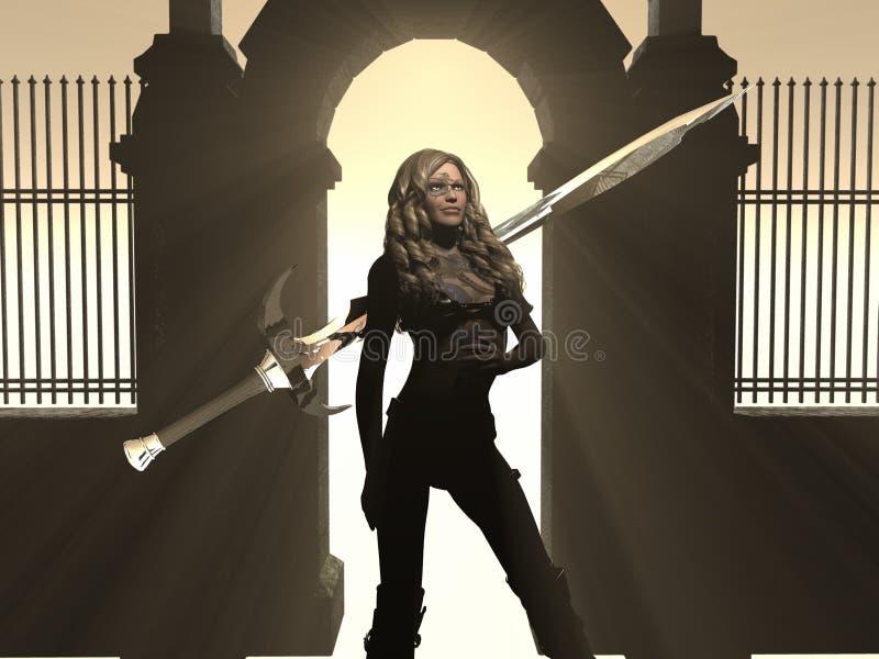 De vrouw van de strijder royalty-vrije illustratie