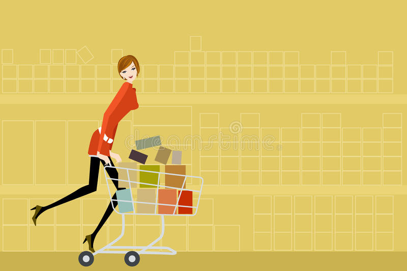 De vrouw van de supermarkt stock illustratie