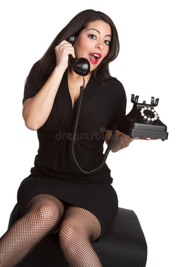 De Vrouw van de Telefoon van Pinup stock fotografie