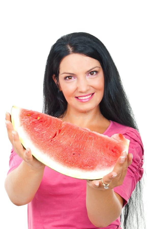 De vrouw van de watermeloen royalty-vrije stock foto's