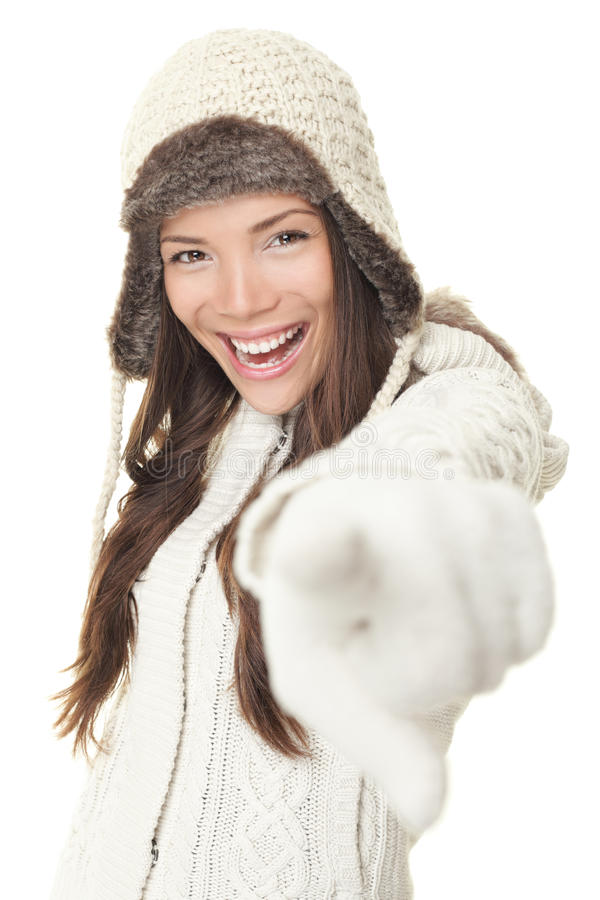 De vrouw van de winter het richten royalty-vrije stock afbeelding
