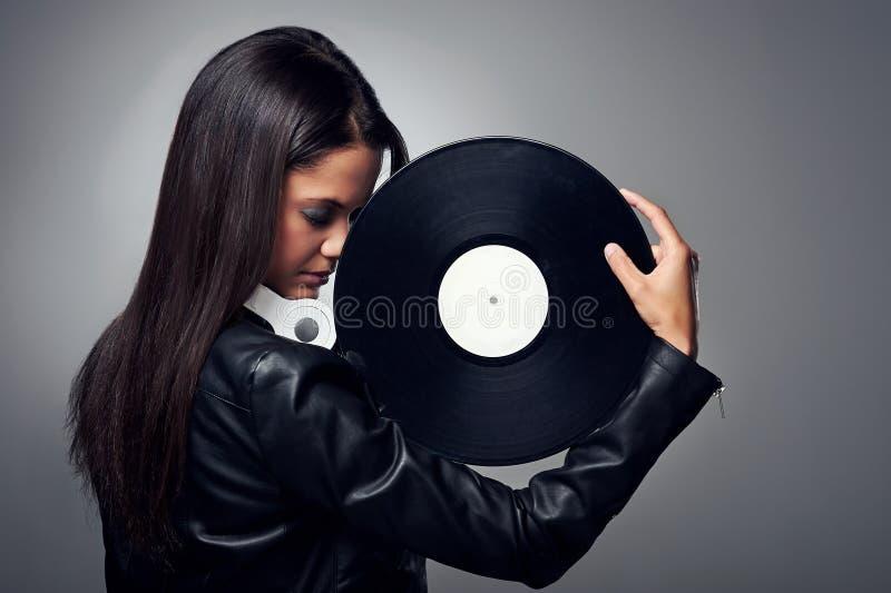 De vrouw van DJ royalty-vrije stock afbeeldingen
