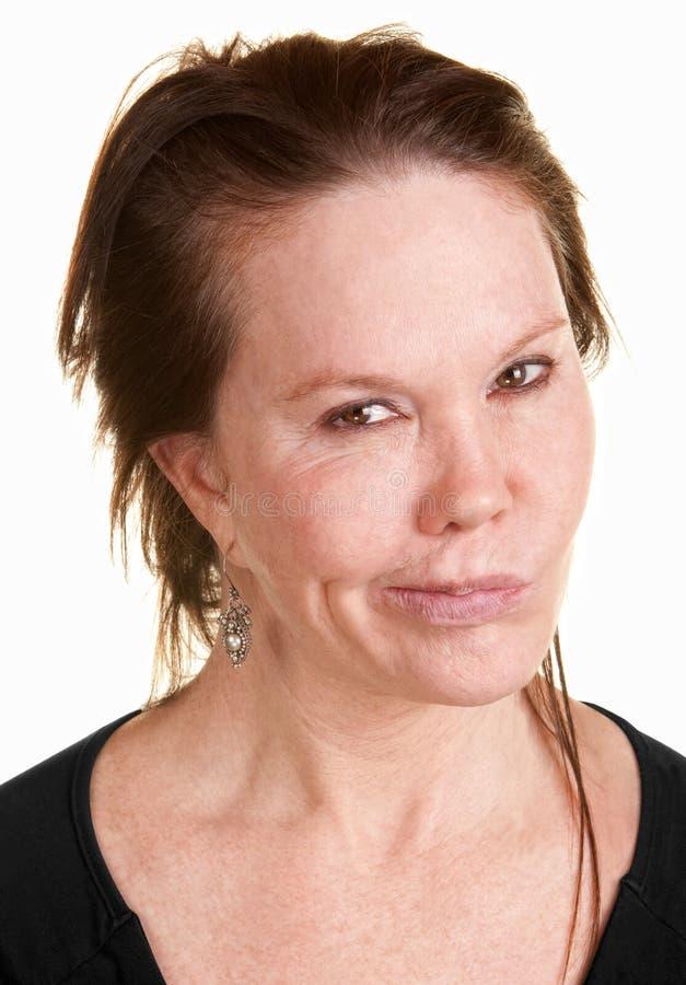 De Vrouw van Doubtul over Witte Achtergrond stock afbeelding