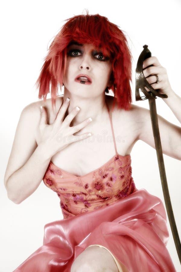De Vrouw van Goth met Zwaard stock foto