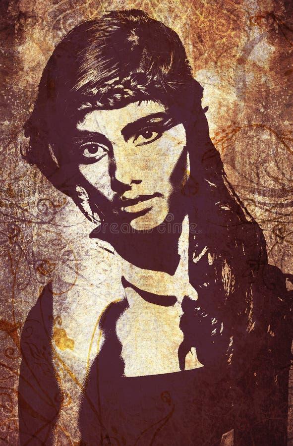 De vrouw van Graffiti op muur stock illustratie