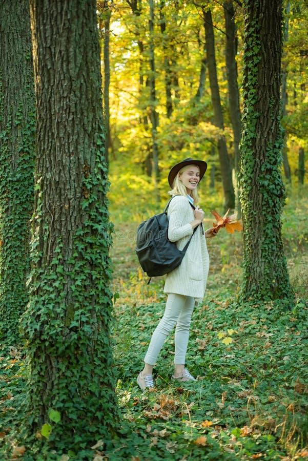 De vrouw van de herfst Mooie vrouw die in het bos op een dalingsdag loopt Mooie vrouw die in het Park lopen en van de mooie de he stock foto