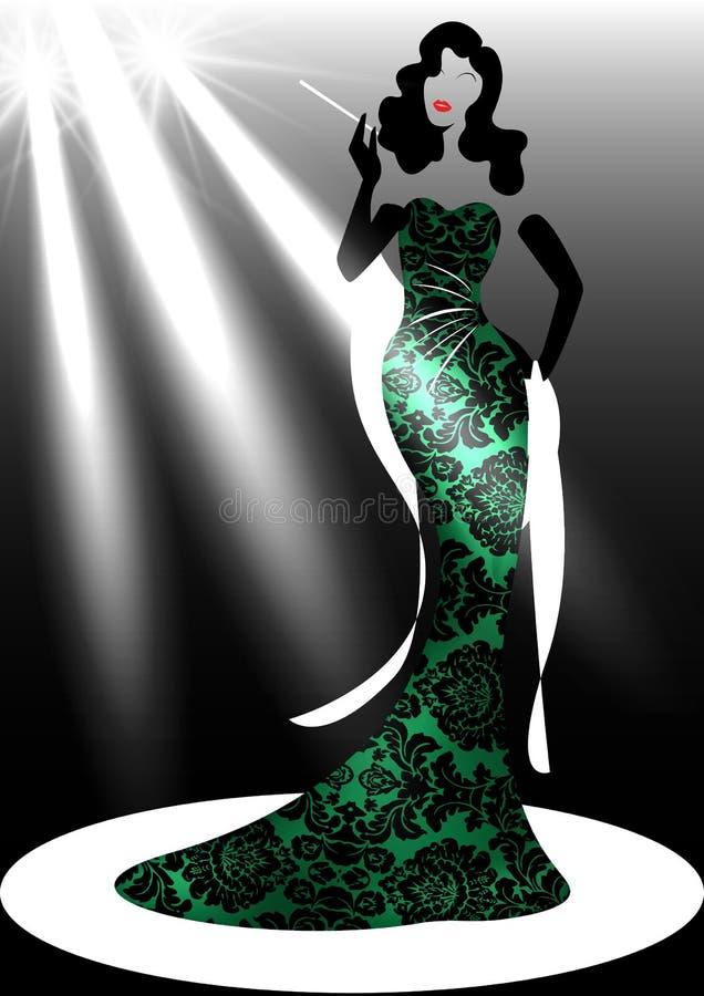 De vrouw van de het embleemmanier van de malplaatjewinkel, silhouetdiva en schijnwerper Het ontwerp van de bedrijfmerknaam, het M vector illustratie