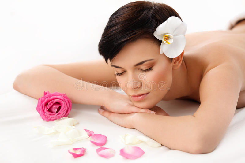 De Vrouw van het kuuroord Close-up van een Beautiful Woman Getting Spa Behandeling royalty-vrije stock fotografie
