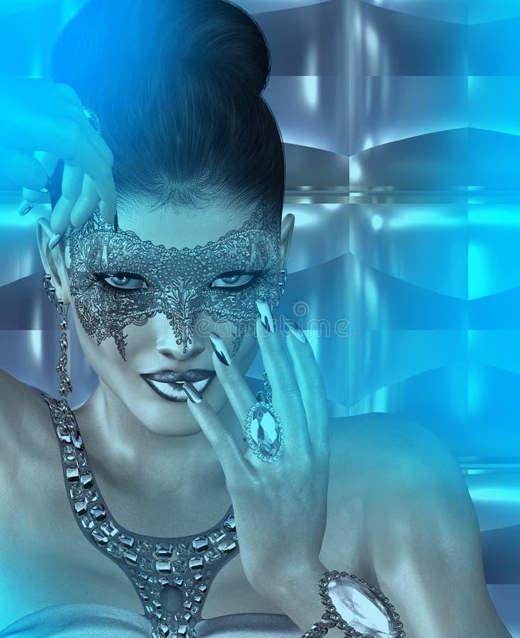 De vrouw van het maskerademasker en abstracte blauwe schemeringachtergrond vector illustratie