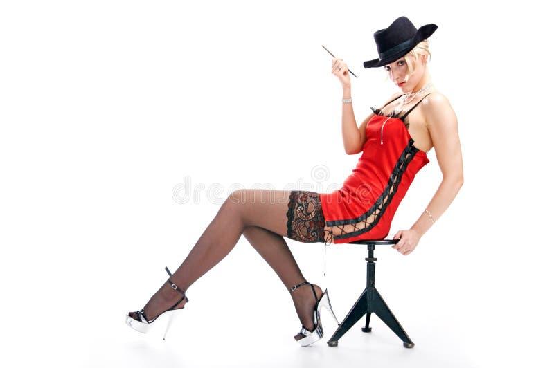 De vrouw van het portret in hoed stock afbeelding