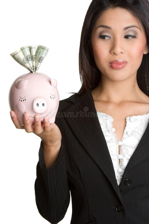 De Vrouw van het spaarvarken royalty-vrije stock foto's