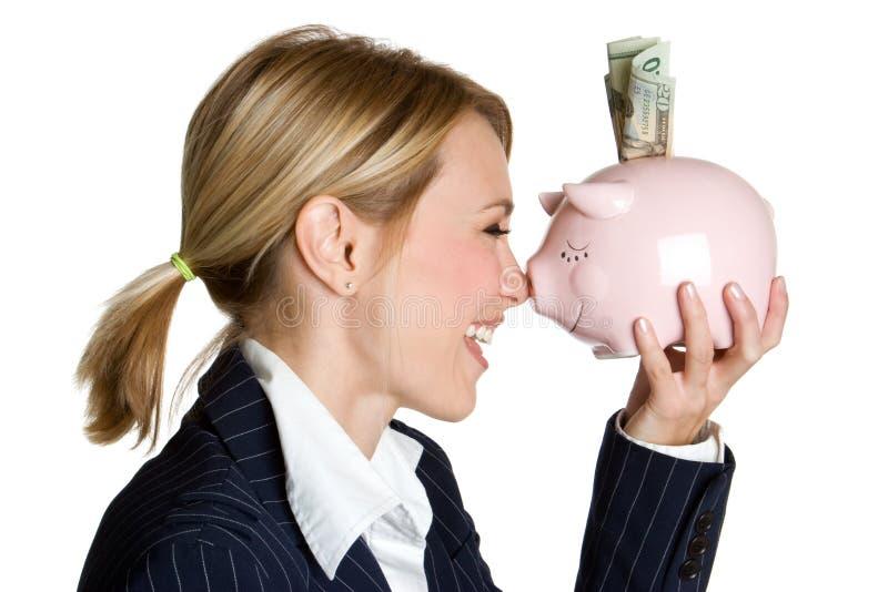 De Vrouw van het spaarvarken royalty-vrije stock afbeeldingen