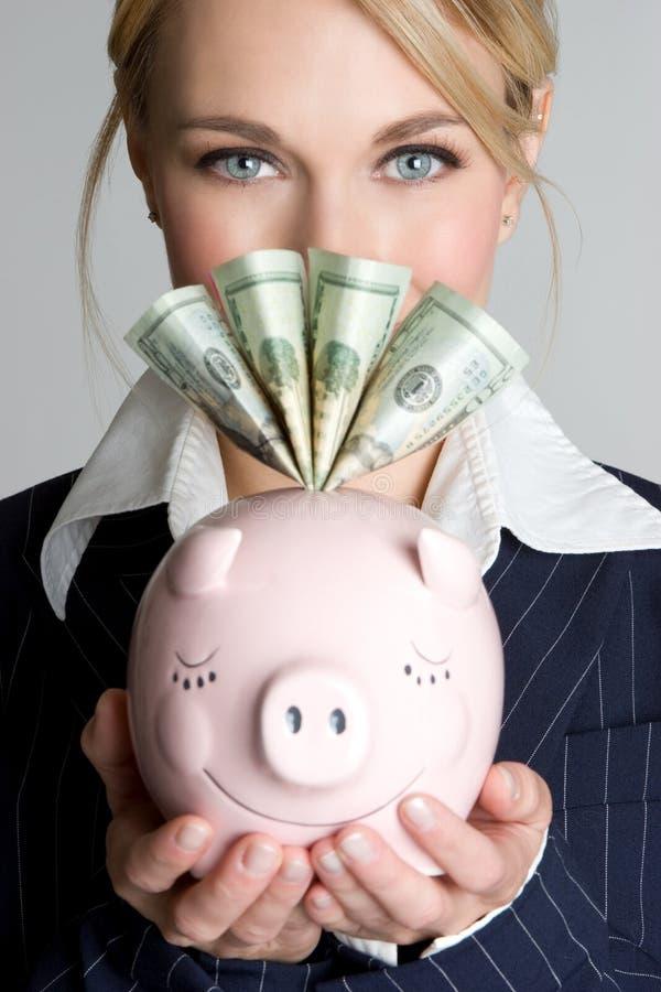 De Vrouw van het Spaarvarken van het geld stock afbeelding