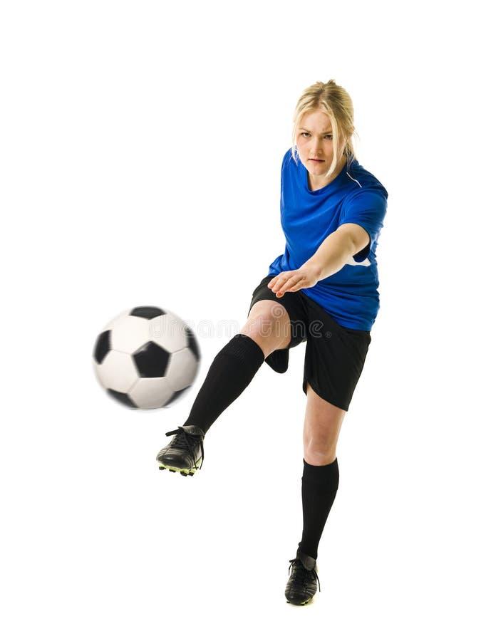 De Vrouw van het voetbal royalty-vrije stock afbeeldingen