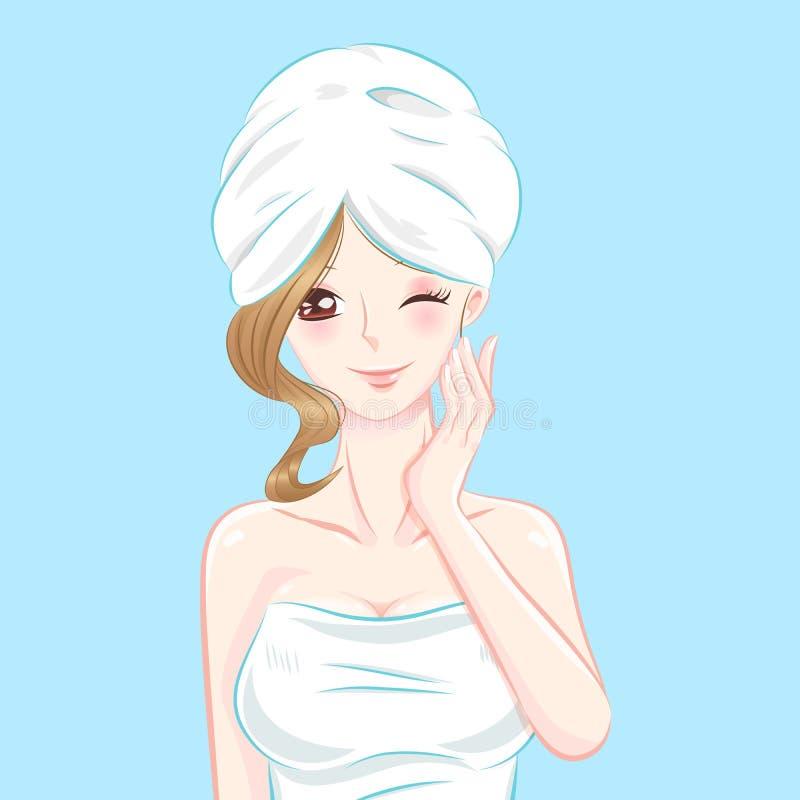 De vrouw van de de huidzorg van het schoonheidsbeeldverhaal vector illustratie