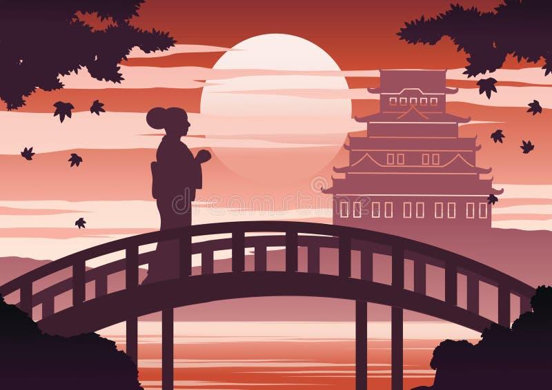 De vrouw van Japan in de tribune van de kimonokleding op brug dichtbij kasteel op zonsondergangtijd terwijl de esdoorndaling, het stock illustratie