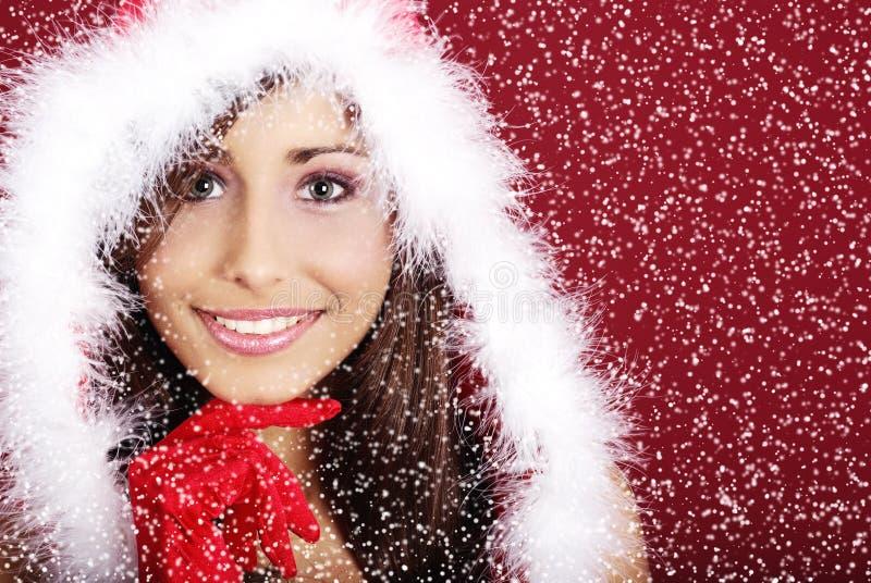 De vrouw van Kerstmis stock afbeelding