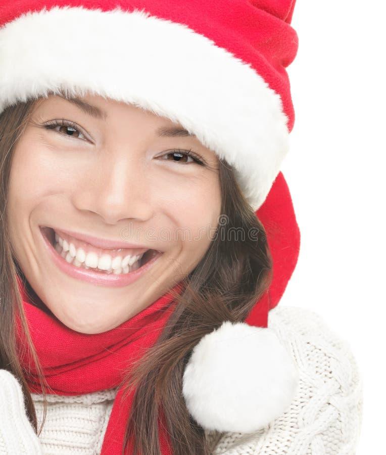 De vrouw van Kerstmis het glimlachen portretclose-up stock foto's